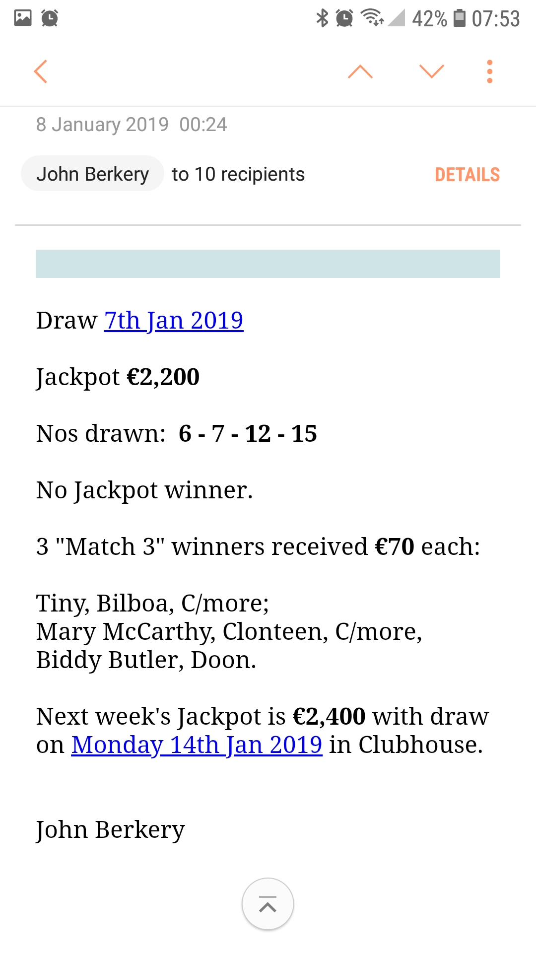 lotto results 20 january 2019